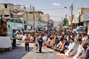 Fluechtlingslager, Freitag, Gebet, beten, Moslem, Islam,
